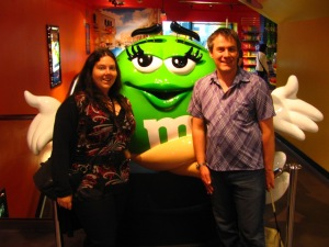 Meeting a new friend at the M & M store